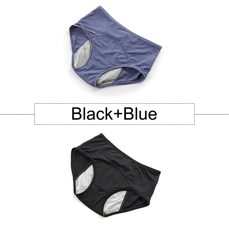 2Pcs/lot Cotton Menstrual Panties Leak Proof Period Underwear Women High Waist Seamless Briefs With Breathable Holes Plus Size 25