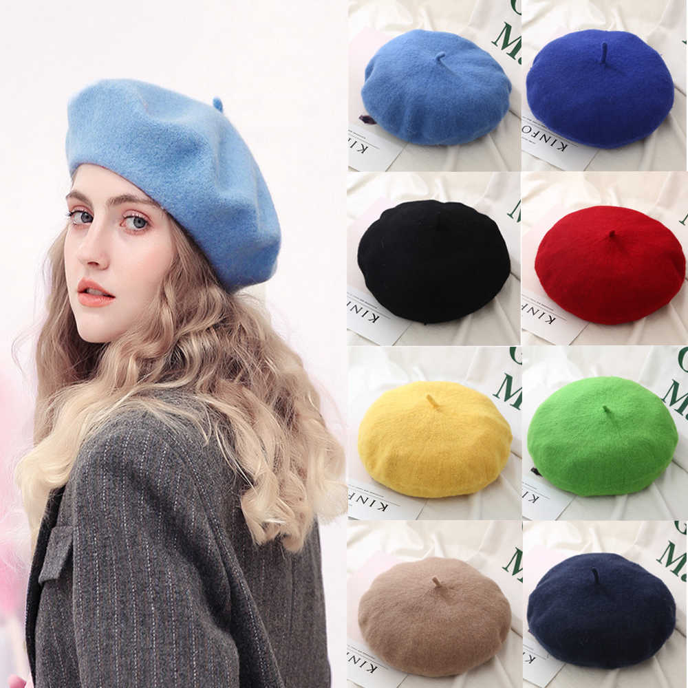 Womens Beret Hat Solid Color Classic French Style Winter Warm Cap Outdoor Hat