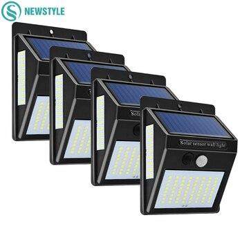 100LED Outdoor Solar Wall Lamp PIR Motion Sensor Waterproof Light Garden Light Path Emergency Security Light 3 Sided