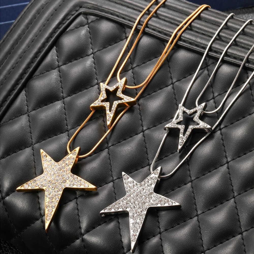 Big Star Anhänger Halskette für Frauen Erklärung Schmuck Kristall Silber Farbe Lange Doppel Kette Lange Layered Halsketten & Anhänger