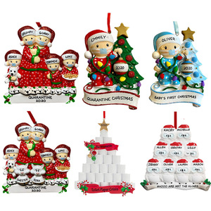 2021 Family Christmas Tree Hanging Pendant PVC Snowman Car Pendant Christmas Ornaments DIY Name Blessing Festival Decoration