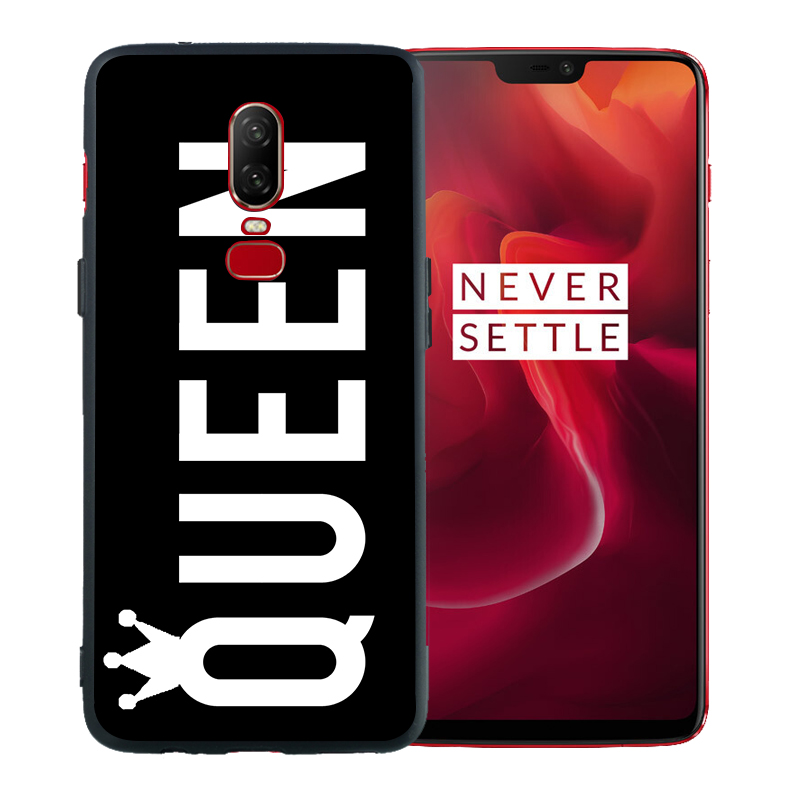 Phone Case Cartoon Crown Letter King Queen For Oneplus 7 Pro Case 6T 6 5 5T Coque Black Soft Silicone Cover Etui Fundas Capinha in Fitted Cases from Cellphones Telecommunications