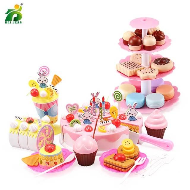 147Pcs 어린이 주방 장난감 소녀 케이크 생일 미니어처 음식 스탠드 세트 척 플라스틱 교육 완구 어린이 선물 용품