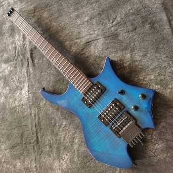 Blue color tiger flame Headless electric guitar,Rosewood fingerboard.handmade 6 stings Headless guitarra.real photo top quality gyhl 0009 headless blue color ash wood body with f hole quilted maple veneer cover active pickup electric guitar