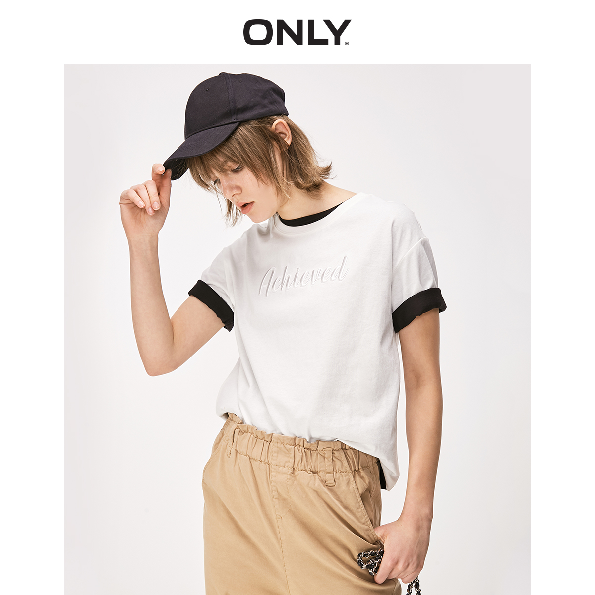 ONLY Women's Loose Fit 100% Cotton Letter Embroidery Round Neckline Pullover Elbow Sleeves T-shirt | 119101610
