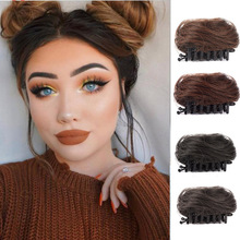 MANWEI Donut Chignon Hair Bun Clip In Hairpiece Extensions Synthetic High Temperature Curly