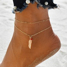 цена на Hello Miss Bohemian fashion anklet jewelry retro feather leaf pendant double anklet women's anklet gift