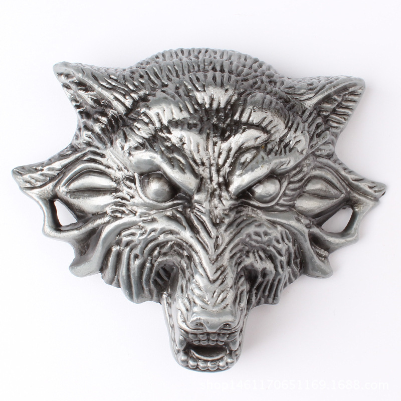 Homemade Handmade Belt Components Wolf Head Belt Buckle Waistband DIY Accessories Cowboy Heavy Metal Rock