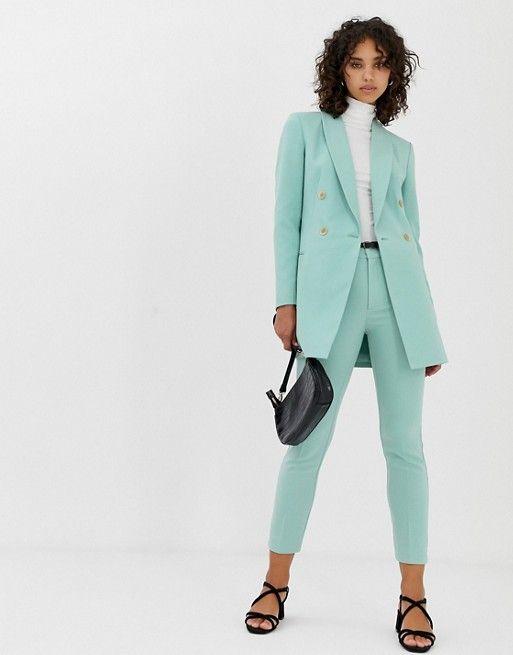 2020 New Arrival Sky Blue Women's Business Suit Female Office Uniform Ladies Formal Pants Suit Double Breasted Women's Tuxedo