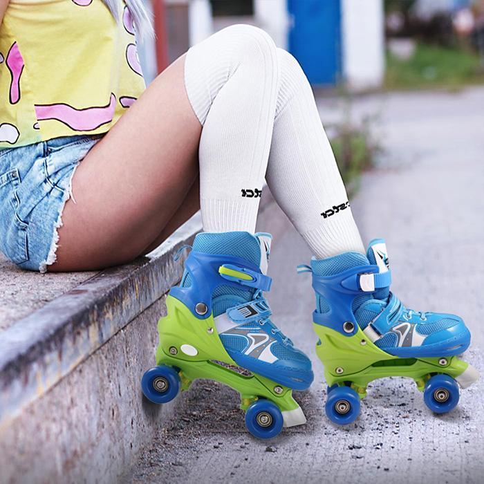 Kids Skate Children Roller Skates Lovely Stable Balance Slalom Parallel Flashing Ice Skate Roller Shoes Adjustable Washable Fall