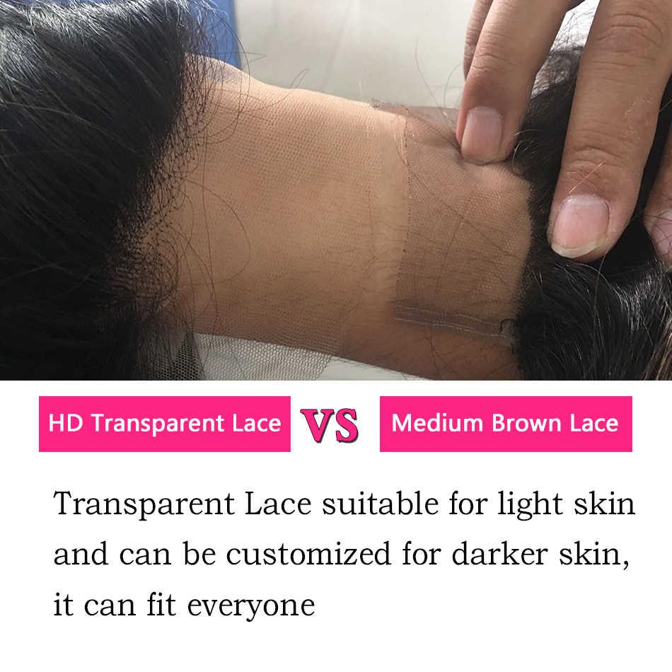 HD przezroczysty koronki przodu włosów ludzkich peruk dla kobiet brazylijski włosy prosto koronki przodu peruk 13x4 wstępnie oskubane bezklejowa peruka typu Lace