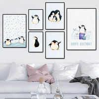 Современный минималистичный мультфильм Пингвин животное холст детская комната Детский сад стены декоративные картины высокой четкости жи...