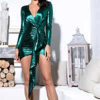 Vestido de las mujeres vestidos de noche de brujas de 2019 S-XL noche vestidos de verano traje de mujer ropa muje Sexy con cuello en V y manga larga de платье z4