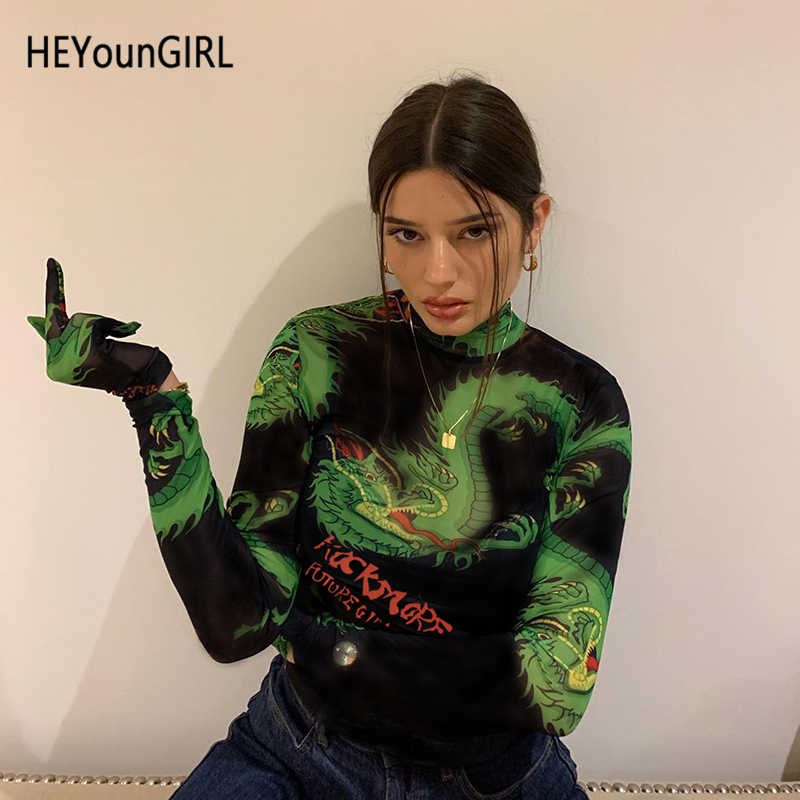 HEYounGIRL Dragon Print Harajuku Bodycon Jumpsuit Casual Long Sleeve Bodysuit with Gloves Fitness Autumn Body Women Streetwear