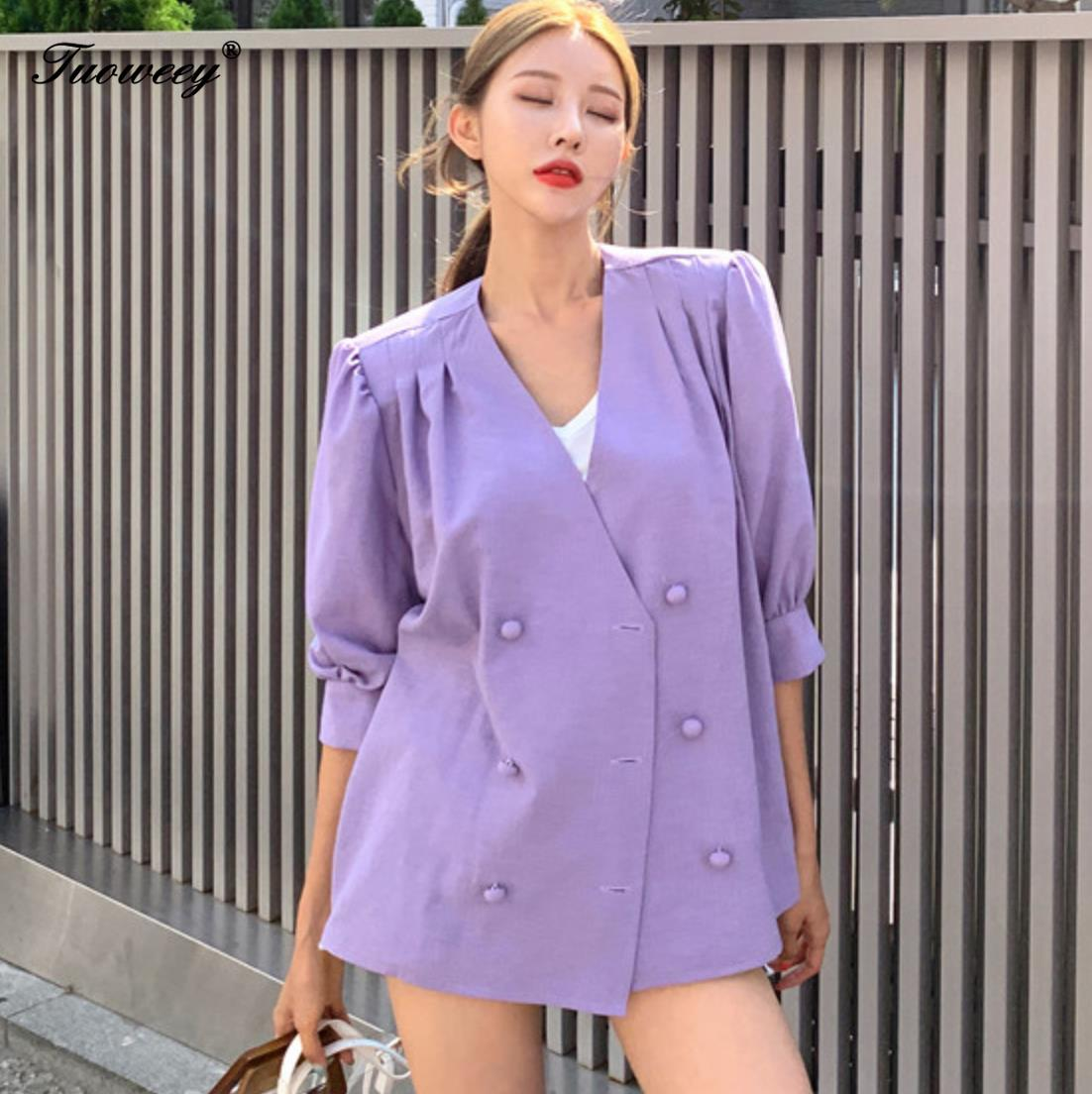 Double Breasted Blazer Loose Purple Blazer Summer Chic 2019 Korea Simple OL Women Office Ladies Fashion Loose V-Neck Coat