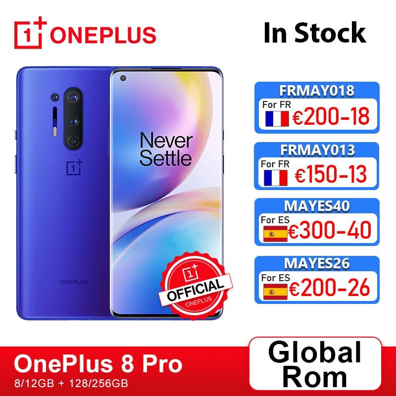 Глобальная прошивка Oneplus 8 Pro 5G Смартфон Snapdragon 865 8 ГБ 128 6,78 120 Гц жидкости Дисплей 48MP Quad OnePlus официального магазина Carter's