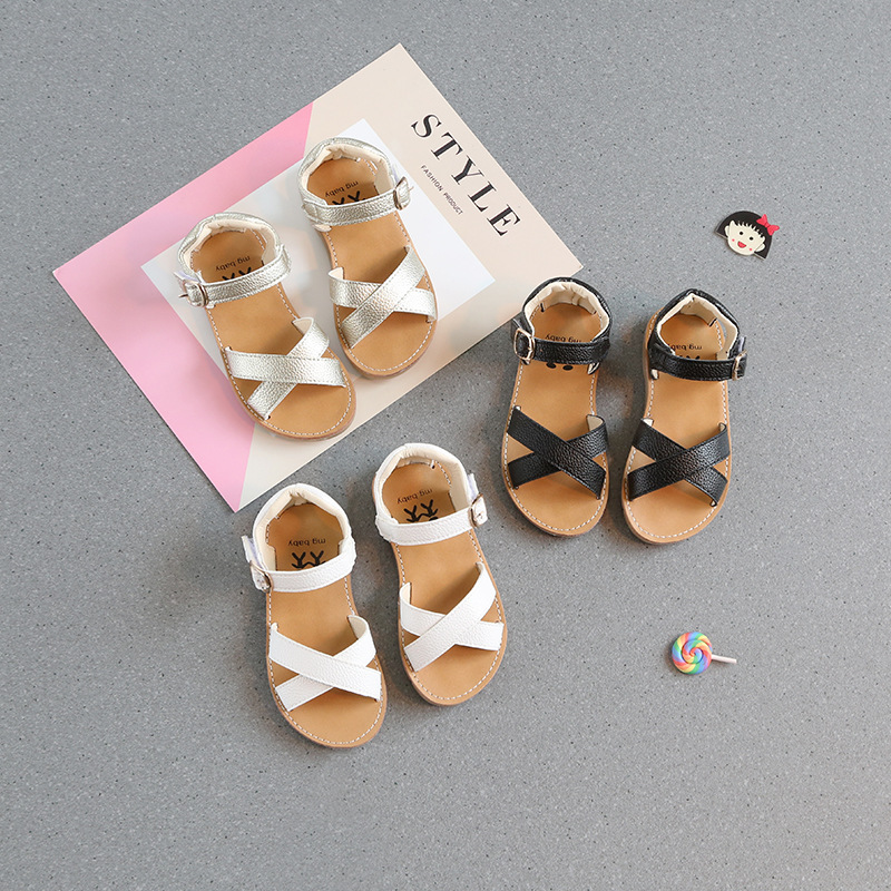 Children's Shoes Girls Sandals Princess Shoes Classic Cross Summer Shoes Children PU Sandals Roman Tide
