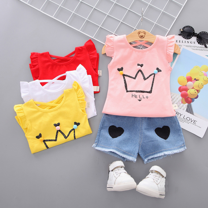 girls Summer Tee outfits 6 months--3 years Toddler kids baby girls outfits cotton T shirt+Shorts Pants clothes cute Set crown image