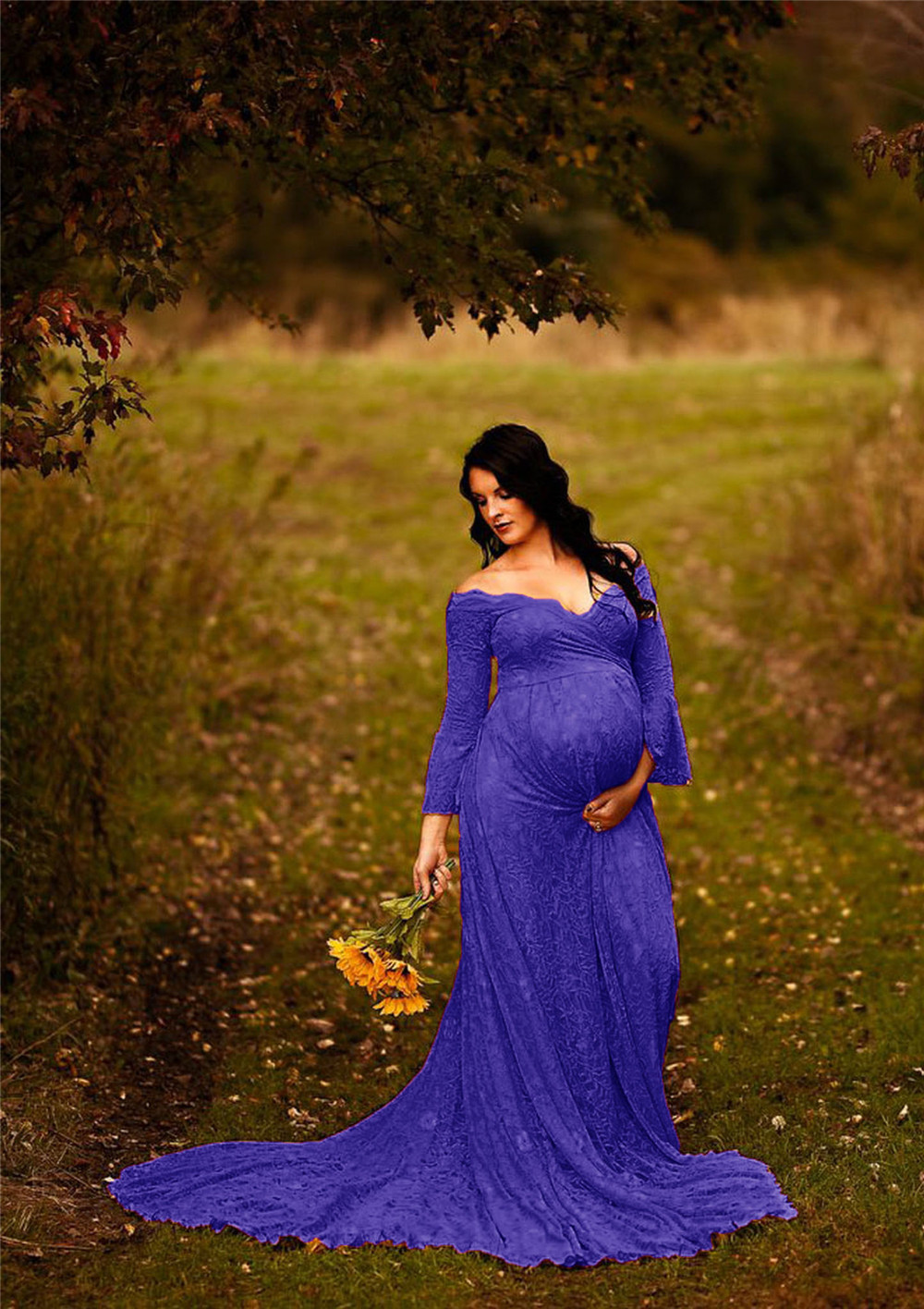 Long Maternity Dresses For Photo Shoot Sexy Lace Fancy Pregnancy Dresses Flare Sleeve Pregnant Women Maxi Gown Photography Props (16)