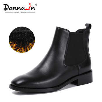 Donna-in Women Boots 2019 Genuine Leather Chelsea Boots Handmade Ankle Boots Brand Square Toe Chunky Ladies Shoes Plush Size - DISCOUNT ITEM  50% OFF All Category