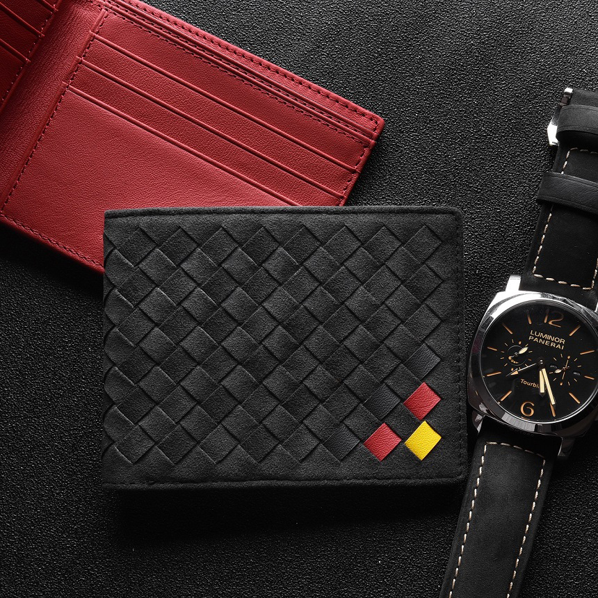 Wallet Men's Luxury Suede Leather Woven Bag High-End Business Short Money Clips Fashion Personality 2021 New leather Money Bag