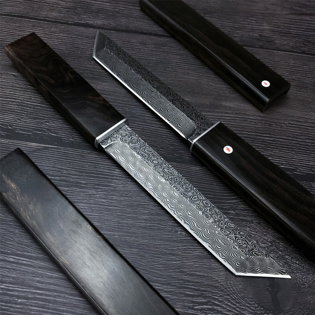 Japanese Samurai VG10 Damascus Steel Straight Knife with Sheath Wooden Handle Tactical Hunting Knife Outdoor Self Defense Weapon 3