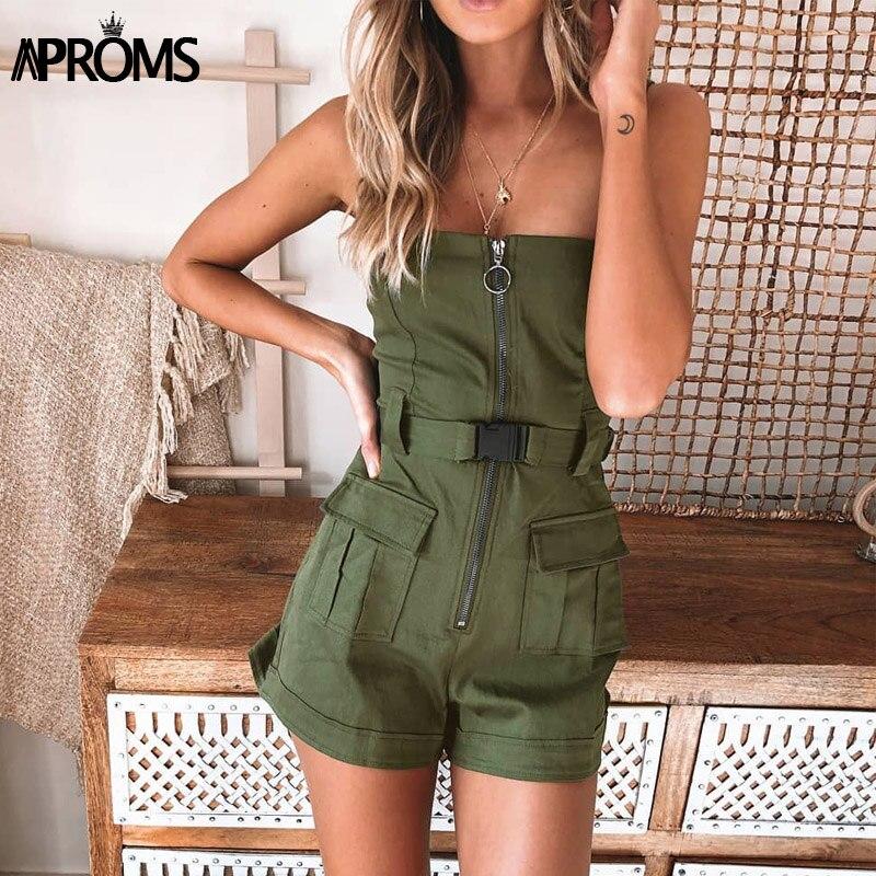 Aproms Elegant Spaghetti Strap Bodycon Romper Female Green Jumpsuit Summer Front Zipper Pockets Slim Playsuit Overalls For Women