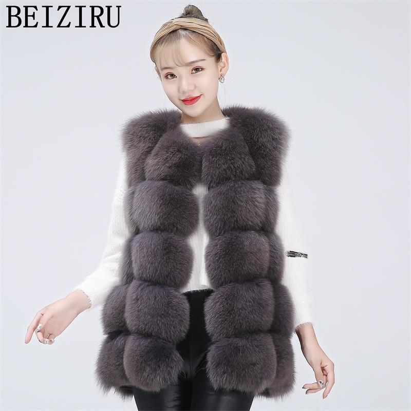 BEIZIRU Real Fur Fox Waistcoat Short Vest Warm Winter Natural Woman Thick Waistcoat  True Silver Fox High Quality  Vest  HZ06