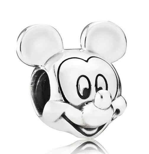 Genuíno 925 prata esterlina charme bonito dos desenhos animados mouse retrato mickey contas ajuste pandora pulseira & colar jóias diy