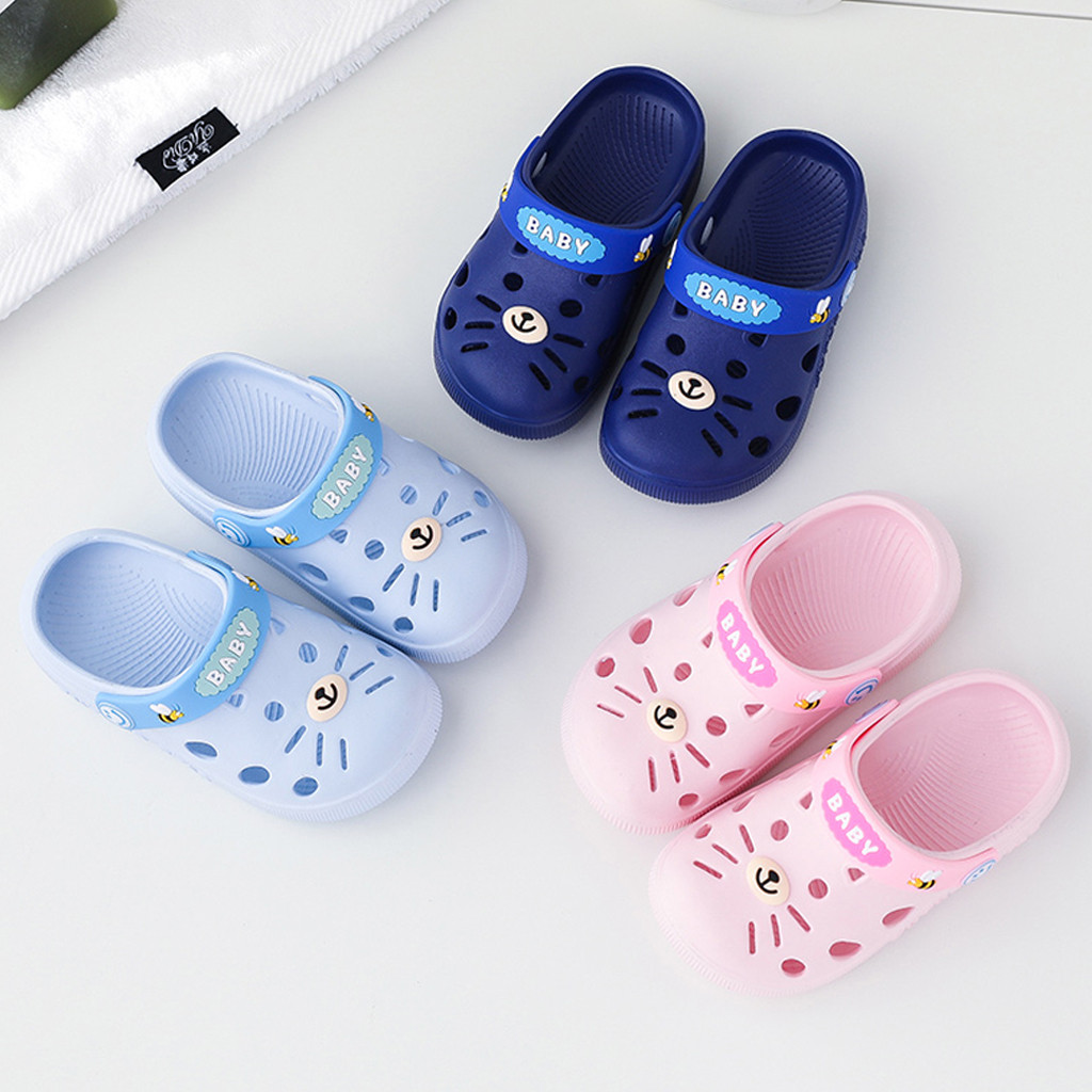 Toddler Infant Home Shoes Slippers Baby Kids Girl Boys Cartoon Cat Floor Sandals