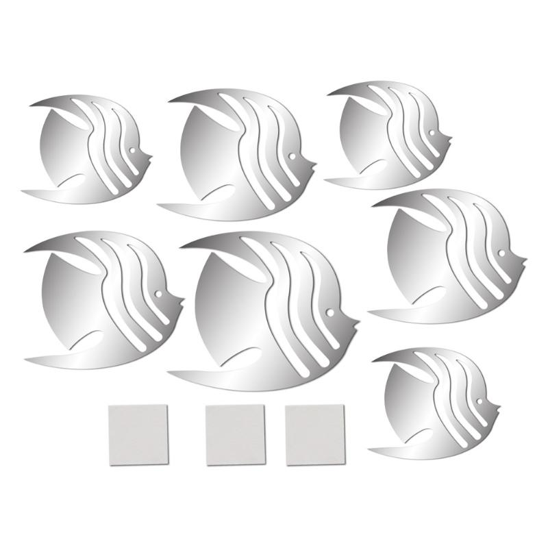 7 Uds. Pegatinas de pared de peces 3D DIY espejo pared arte calcomanía hogar Decoración de la habitación - 5