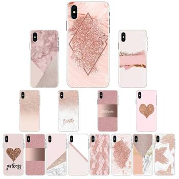 Babette Rose Gold Pink Glitter Phone Case For iPhone X XS MAX 6 6s 7 7plus 8 8Plus 5 5S se 2020 XR 12 11 pro max case image