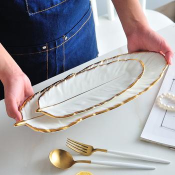 Luksusowy pulpit taca styl skandynawski kreatywny ceramiczny taca ciasto owocowe zastawa stołowa płyta biżuteria kosmetyczne przechowywanie rozmaitości taca tanie i dobre opinie AODMUKI CN (pochodzenie) Jedzenie Tacki do przechowywania Ekologiczne Na stanie Ceramic dinner plate 65 Europejska SDW5688
