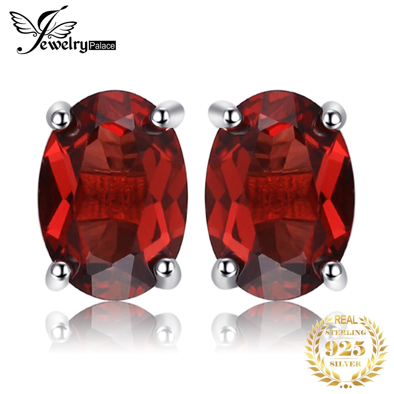 JewelryPalace 2ct Oval Genuine Garnet Stud Earrings 925 Sterling Silver Earrings For Women Korean Earings Fashion Jewelry 2020