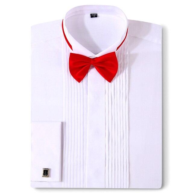 남자 턱시도 셔츠 웨딩 긴 소매 드레스 프랑스어 커프스 단추 페타 폴드 다크 버튼 디자인 신사 셔츠 화이트 레드 블랙