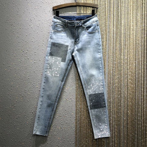 Women Jeans 2020 Spring New High Waist Stretch Slim-Fit Heavy Industry Hot Drilling Pencil Jeans Pants Jean Femme Nancylim