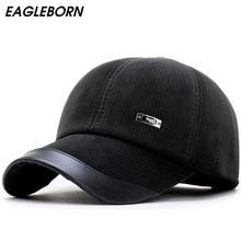 цена на New autumn winter men's baseball cap keep warm corduroy male hat with protective ear thickening polar fleece lining snapback hat