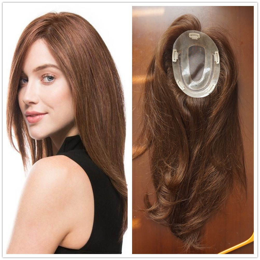 Hstonir Indian Remy Hair Topper Women Toupee Mono Wig Hairpiece For Women Rose TP14