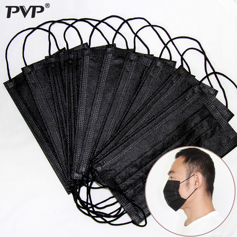 10Pcs Mouth Mask Disposable Black Cotton Mouth Face Mask Medical Mask Anti-Dust Mask 3 Filter Earloop Activated Carb Hypoallerge