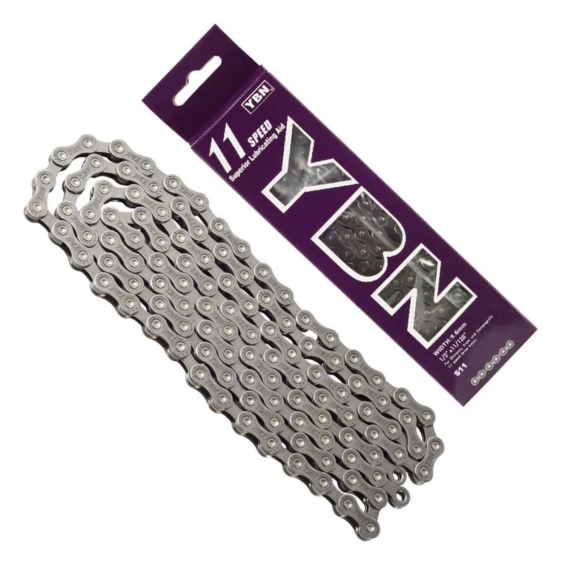 YBN 11 цепь для скоростного Велосипеда Цепь для дорожного велосипеда MTB 112 звеньевая велосипедная цепь с фиксированной передачей, велосипедна...