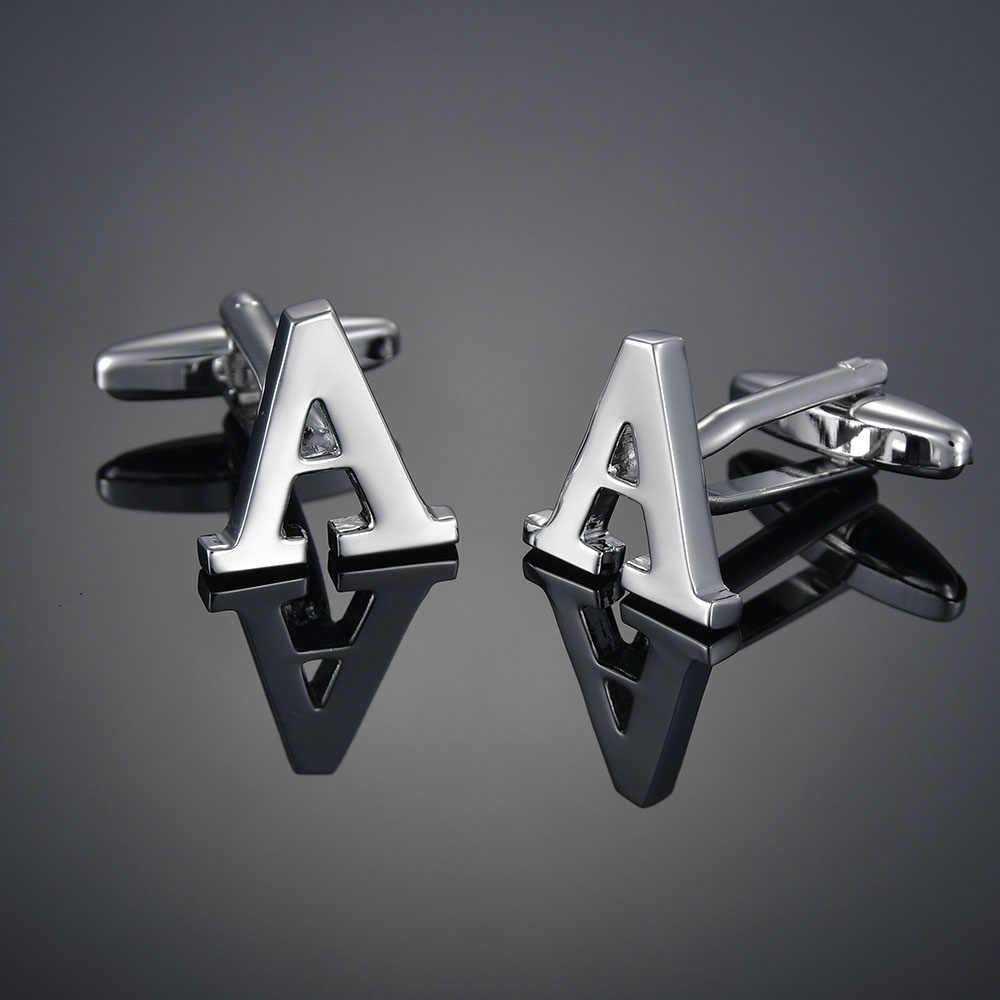 Kaliteli pirinç gümüş renk 26 mektup A-Z harfler kol düğmeleri erkekler fransız gömlek kol düğmeleri mens gemelos bouton manchette