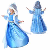 Girls Snow Queen Jasmine Princess Elsa Anna Party Dresses Kids Halloween Cosplay Rapunzel Dress Clothes Baby Costume Clothing