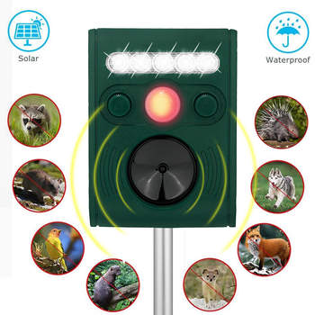 Animal Repeller Outdoor Solar with LED Light Waterproof  with Motion Sensor Dogs Cats Squirrels Rabbits