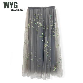 Top Quality Runway Skirts Women 2020 Summer New Arrival England Paris Fashion Green Sequined Ladies Elegant Grey Mesh