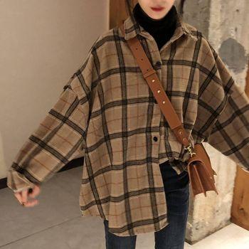 Deeptown Oversize Shirt Women Korean Style Fashion Leisure Shirts Loose Long Sleeve Plaid Autumn Clothes 2020