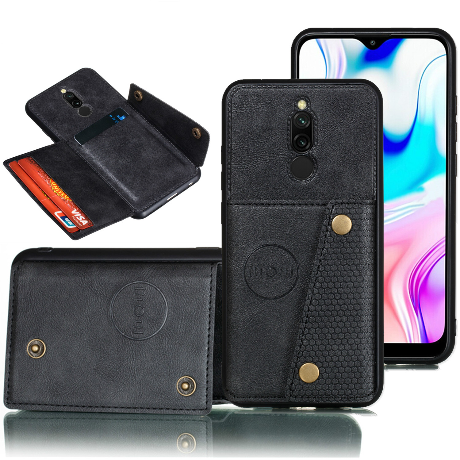 Case for <font><b>Redmi</b></font> 8 8a <font><b>Note</b></font> 8 <font><b>7</b></font> Mi 9t <font><b>Pro</b></font> Card Wallet Cover for <font><b>Xiaomi</b></font> Mi 9t <font><b>Redmi</b></font> K20 K30 7a <font><b>Note</b></font> 8T PU Leather Magnetic Wallet image