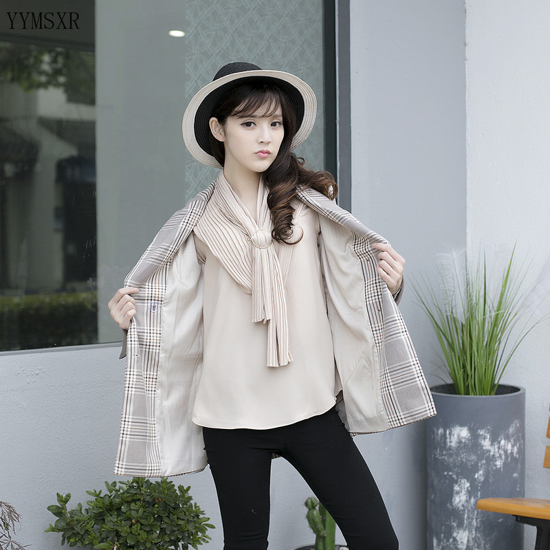 Plus size XL-4XL women's blazer 2020 new spring and autumn casual checked ladies jacket coat Mid-length coat Feminine