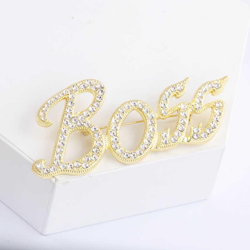 Itenice 2020 yeni takı marka klasik kelime Boss kristal Metal broş Wonder erkek