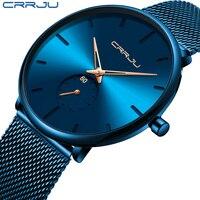 CRRJU moda mavi erkekler İzle en lüks marka Minimalist Ultra ince quartz saat rahat su geçirmez saat Relogio Masculino