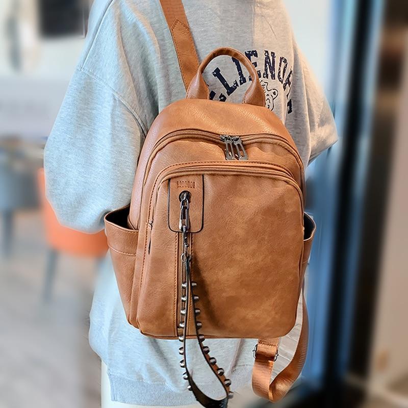 Women PU Leather Backpack Female Fashion Rucksack New Designer Vintage Shoulder Bag Mochila Feminina Escola School Bag Backpack